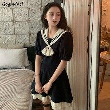 Mini robe à manches courtes et col marin pour femme, vêtement décontracté, Style coréen, taille définie, ample, rétro, JK, Sexy, Slim