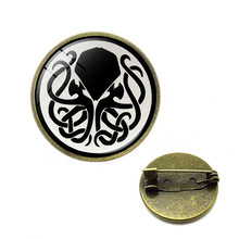 Vintage Cthulhu Emblem Lapel Pins Round Steampunk Cthulhu Brooches Octopus Tentacles Fiction Game Brooches H.P Lovecraft Jewelry(China)