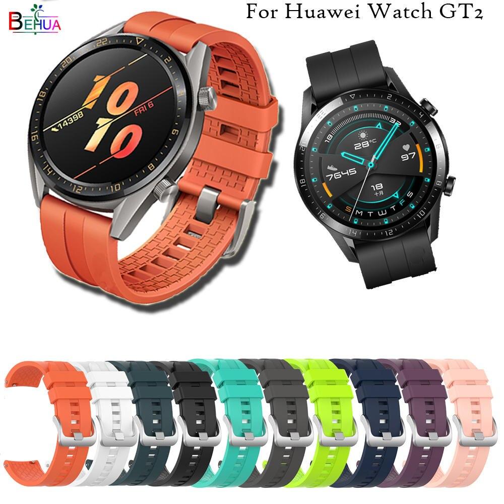 Pulseira esportiva de silicone de 22mm, correia de banda de relógio inteligente para huawei watch gt 2 46mm, substituição para relógio huawei gt 42mm 46mm