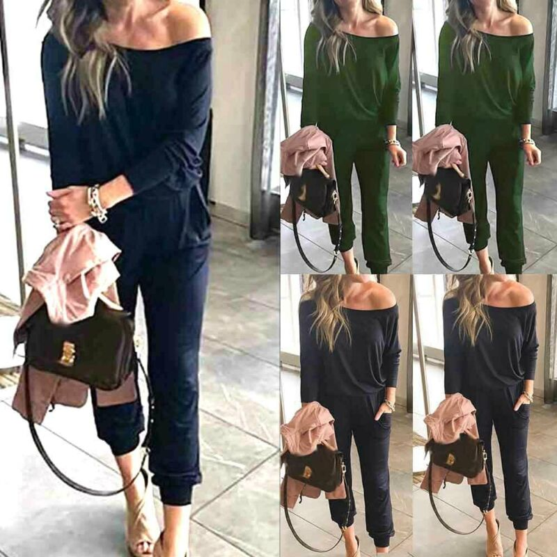 Autumn New Solid Bodycon Playsuit Women Sexy Skew Neck Long-Sleeve Bodycon Rompers Womens Black Army Green Harem Pant Jumpsuit