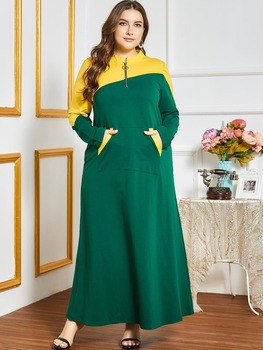 Islamic Clothing Zipper up Tracksuit Long Dress Women Muslim Middle East Striped Jogging Maxi Dress
