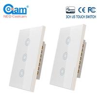 COOLCAM 4 шт./лот 3CH Z-wave Plus US 3 Банды сенсорный выключатель Смарт дистанционное управление выключатель света Панель домашней автоматизации ZWave US ...