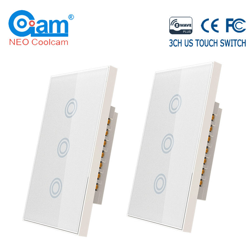 COOLCAM 4pc/lot 3CH Z-wave Plus US 3 Gang Touch Switch Smart Remote Contro Light Switch Panel Home Automation ZWave US 908.4MHZ
