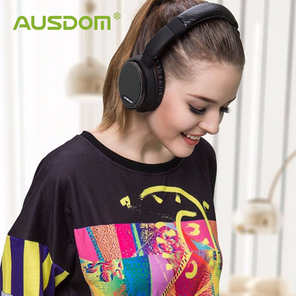 Ausdom ANC7S Carbon-fibre Active Noise Cancelling Wireless Headphones Bluetooth Headset With Mic Hifi Sound For Phone Computer