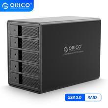 ORICO 3.5 인치 5 베이 HDD 도킹 스테이션 USB3.0 SATA RAID 알루미늄 HDD 인클로저 내부 전원 어댑터 HDD 케이스