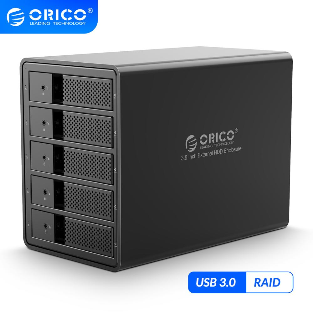 ORICO 3.5 Inch 5 bay HDD Docking Station USB3.0 to SATA With RAID Aluminum HDD Enclosure Internal Power Adapter HDD Casehdd docking stationdocking stationhdd docking -