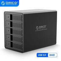 ORICO 3.5 inç 5 bay HDD yerleştirme istasyonu USB3.0 SATA RAID alüminyum HDD muhafaza dahili güç adaptörü HDD durumda