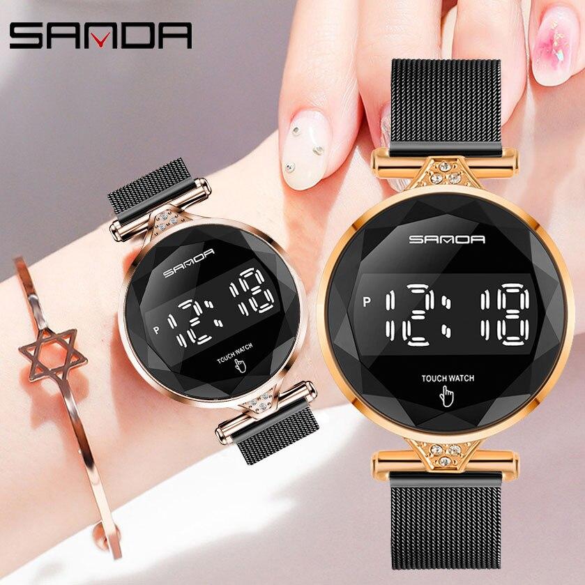 Luxury Top Brand SANDA Women Digital Watches Fashion Electronic Sports Watches for Women Water Resistant Ladies Wristwatch 2020