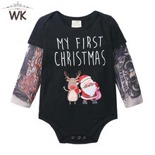Jq-460 Newborn Baby Tattoo sleeve Romper Long Sleeve Boys Cotton Infant Punk Rock romper Christmas cartoon deer Outfits Jumpsuit(China)