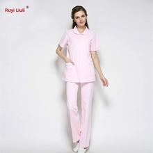 Nurse Clothes White Lab Coat Short Sleeve Tops Pants Pharmacy Front Desk Beauty Salon Hospital Medical Scrub Sets Work Uniform-R