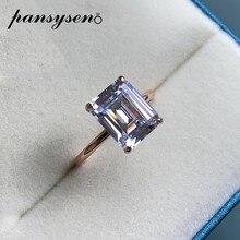 PANSYSEN 100% prawdziwe 925 srebro symulować Moissanite diamentowy kamień obrączka pierścionek różowe złoto kolor Fine Jewelry Rings