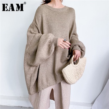 [EAM] Oversized Gray Knitting Sweater Loose Fit Round Neck Long Sleeve Women Pullovers New Fashion Autumn Winter 2020 1Y190 [eam] pelated split big size knitting sweater loose fit turtleneck long sleeve women pullovers new fashion spring 2020 1m877