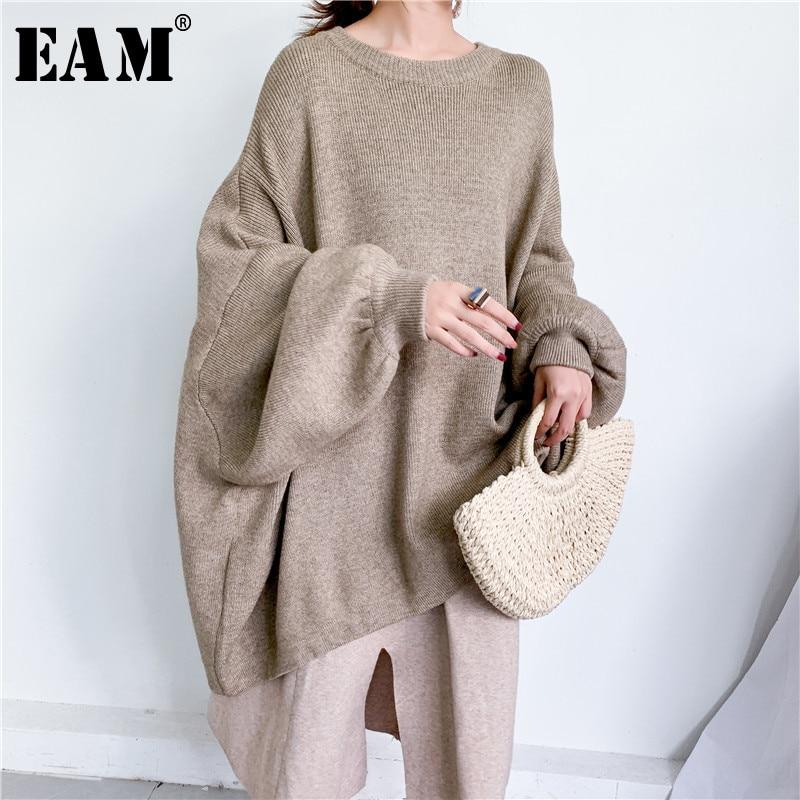 [EAM] suéter de punto gris de gran tamaño, suéter suelto de cuello redondo de manga larga para mujeres, nueva moda Otoño Invierno 2020 1Y190