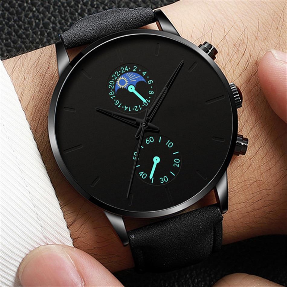 H8ccdbc12f20649f69f4af740afdd52f5p Minimalist Fashion Men's Watch Luxury Business Casual Black leather Watches Classic Male Wrist Watch Analog Clock Herren Uhren
