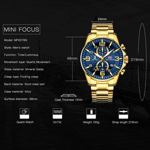 Image 2 - MINI FOCUS Fashion Mens Watches Top Brand Luxury Waterproof Quartz Clock Chronograph Sports Business Watch Men Relogio Masculino