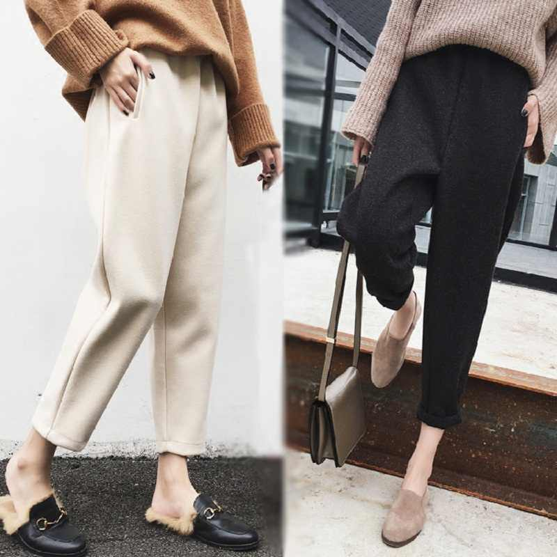 2019 New Autumn winter high waist women's Harem Pants Female Woolen casual solid warm female long Trousers Ankle-Length Pants