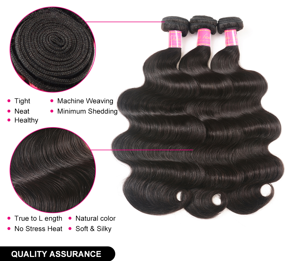 Brazilian Body Wave Hair Bundles 8-30 Inches 100% Human Hair Weave 134 Bundles Natural Color Remy Hair Extensions High Ratio (2)