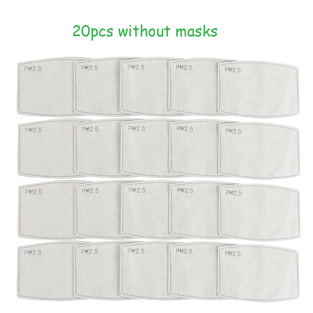 20 50 100 Pcs PM 2.5 Filters Anti Dust Carbon Activated Without Masks Adult 12.3cm*8cm