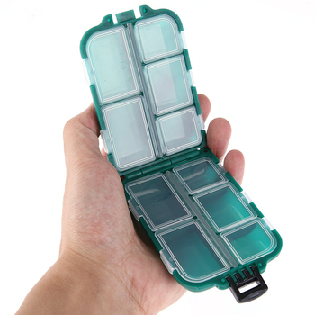 10 Compartments Mini Storage Box Fishing Tackle Box Fishing Bait Spoon Hook Bait Box Gadget Box Pesca Fishing Accessories - Green, United States
