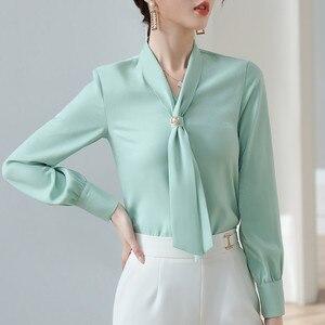 Image 2 - ライトグリーン長袖シャツ女性秋ゆるいカジュアルな弓リボンol高品質ファッションブラウスオフィスレディースワークトップ