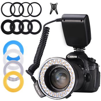 lampa pierścieniowa pakiet błyskowa Speedlite do Canona Nikon Fujifilm Olympus Pentax DSLR aparat fotograficzny RingFlash tanie i dobre opinie MAMEN Lumix mamiya Leica Sigma SAMSUNG Telefon komórkowy Marki Gopro CN (pochodzenie) RF-550D Ring Flash Light 200g 4pcs AA Battery