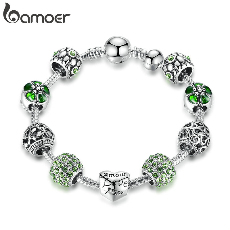 BAMOER Antique Silver Charm Bracelet & Bangle with Love and Flower Beads Women Wedding Jewelry 4 Colors 18CM 20CM 21CM PA1455 4
