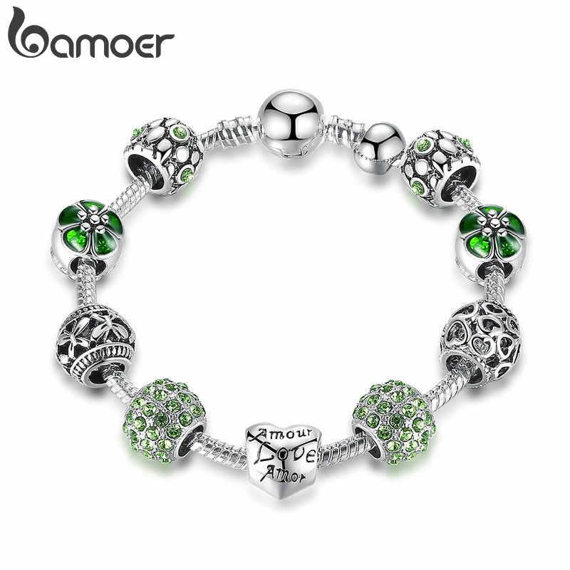 Bamoer prata chapeado charme pulseira & pulseira com amor e contas de flores jóias de casamento feminino 4 cores 18cm 20cm 21cm pa1455