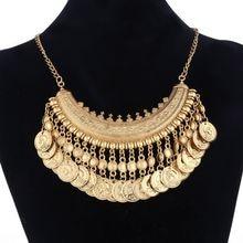Las mujeres gitana collar de joyería de moda Bohemia antiguo moneda dorada collar Vintage de moda turco étnica india collar