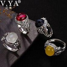 V.YA النساء الحجر الطبيعي حلقة مفتوحة 925 فضة مجوهرات شبه حجر كريم و Marcasite حجر خواتم الإناث السيدات الهدايا