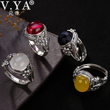 V.YA Women Natural Stone Open Ring 925 Sterling Silver Jewelry Semi precious Stone & Marcasite Stone Rings Female Ladies Gifts