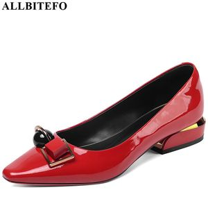 Image 2 - ALLBITEFO real genuine leather spring autumn high heel shoes Pure color fashion women heels office ladies shoes high quality
