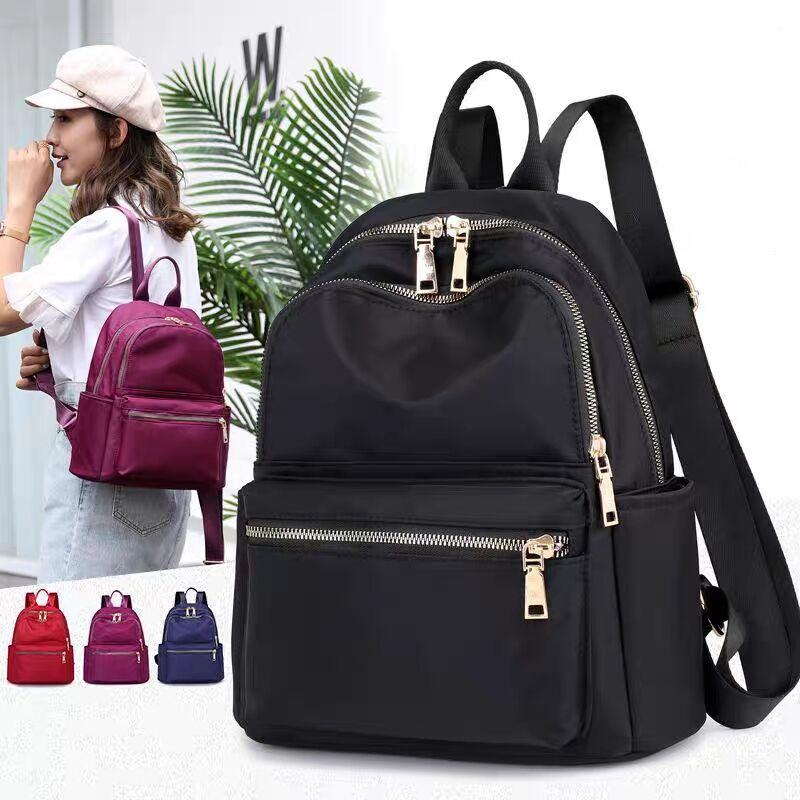 Vento Marea Black Women Backpack 2019 Nylon Travel Shoulder Bag Soft School Bag For Teenage Girls Solid Color Red Bag Pack Purse