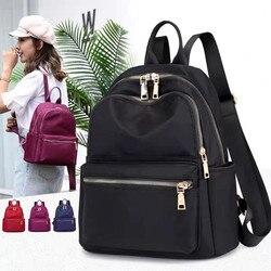 Vento Marea noir femmes sac à dos 2019 Nylon voyage sac à bandoulière doux sac d'école pour adolescentes couleur unie rouge sac Pack sac à main