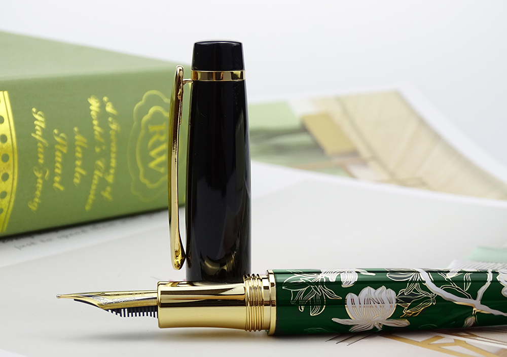 Image 3 - HongDian Metal Fountain Pen Hand Drawing Green Flowers Iridium Fine / Bent Nib Ink Pen Excellent Writing Gift Pen for Business-in Fountain Pens from Office & School Supplies