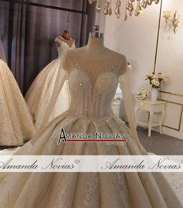 Image 5 - أنيق كامل الديكور الجسم كم طويل الدانتيل فستان الزفاف أخف لون الشمبانيا يمكن أن تجعل العاج