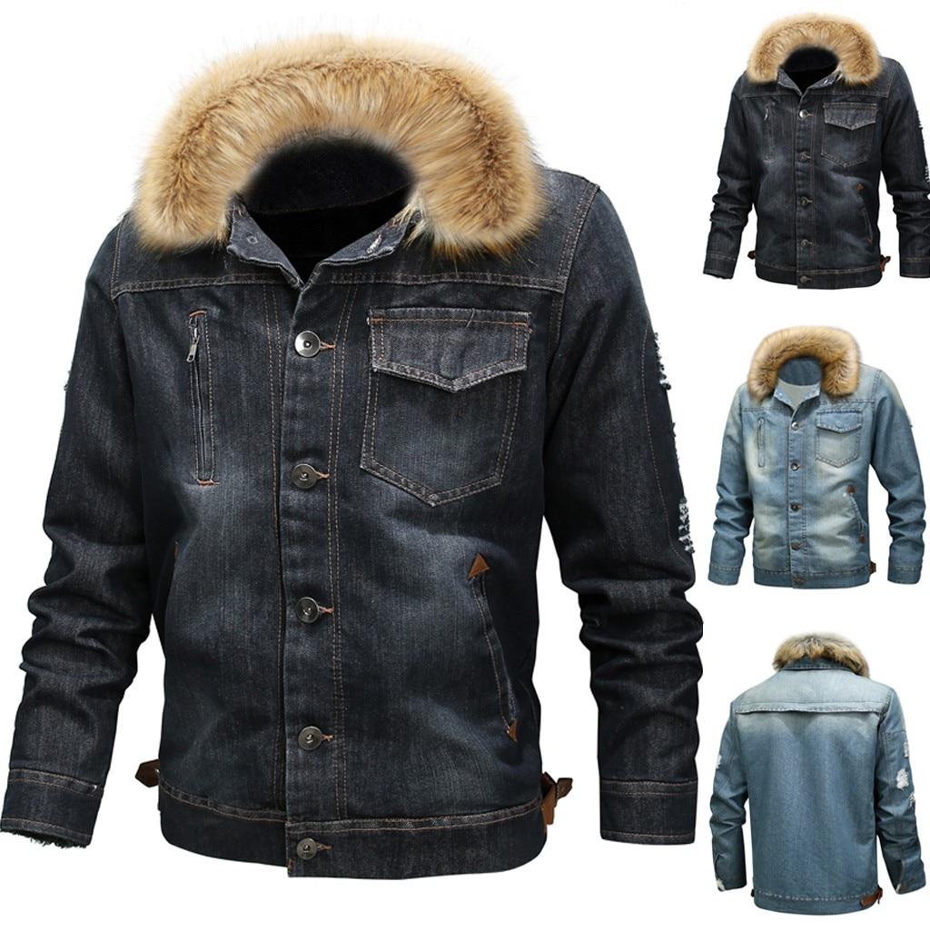 2019 nouvelle mode hommes hiver chaud cou automne hiver Vintage en détresse Demin veste hauts manteau Outwear
