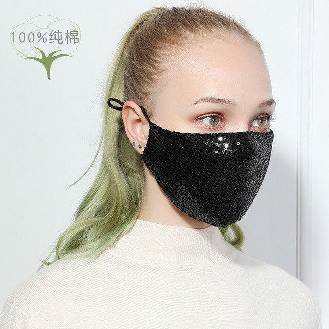 Fashion Sequin Cotton Mask Face Masks Keep Warm Anti-haze Masks Shining Party Unisex Breathable Mouth Respirator Washable Mask 3