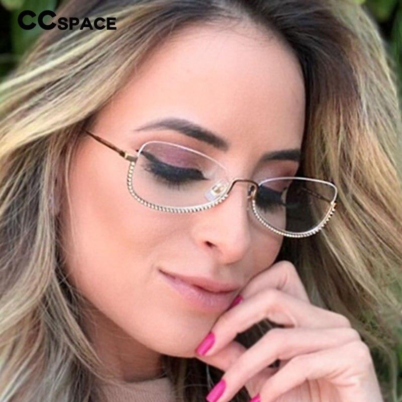48024 Half Frame Diamond Glasses Frames Men Women Optical Fashion Computer Glasses