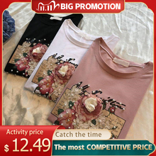 Pearl Appliques 3D Beading Women T Shirts Cotton O Neck Short Sleeve Female Casual Shirt 2020 Summer Fashion Ladies Tops ClothesT-Shirts
