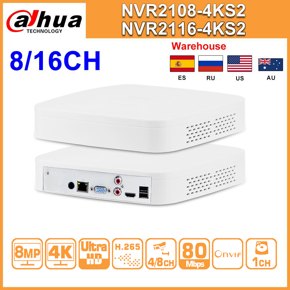 Оригинал Dahua NVR NVR2108-4KS2 NVR2116-4KS2 8CH 16CH 4K сетевой видеорегистратор H.265 IP камера CCTV система для безопасности дома