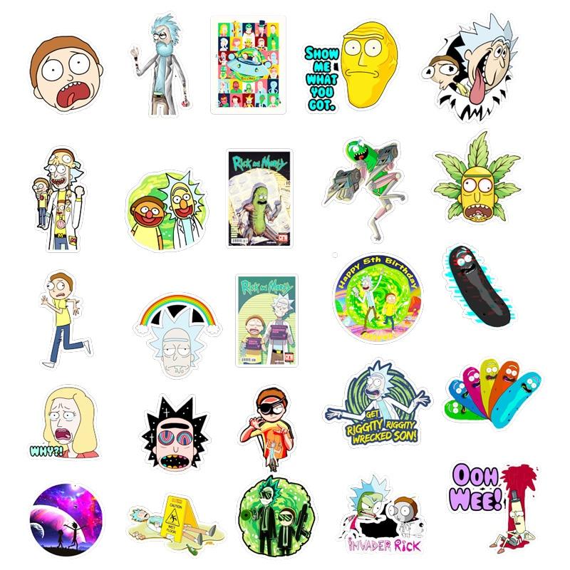 50PCS Cartoon Rick  Stickers DIY Travel Skateboard Suitcase Guitar Luggage Laptop Waterproof Cool Sticker Decal Kid Toy 6
