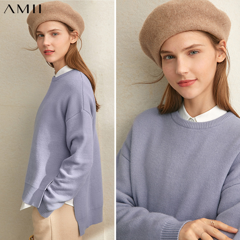 Amii Winter Women Vintage Knitted Sweaters Female Elegant Solid Loose Split Pullover Sweater Tops 11940643