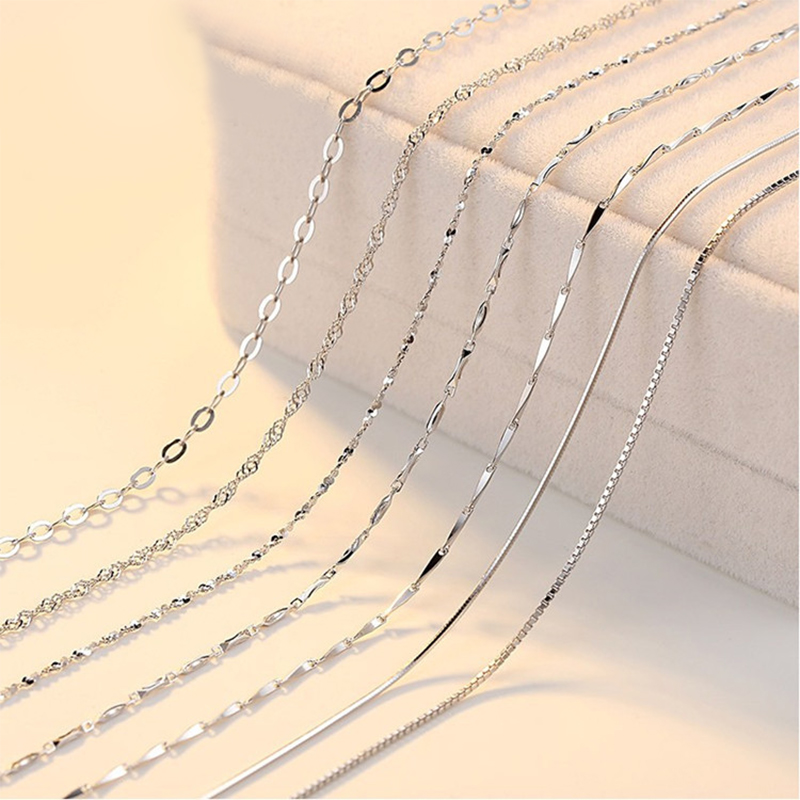 100% 925 Sterling Silver For Women Classic Basic Chain Lobster Clasp Necklace Snake/Box Chain Fashion Jewelry
