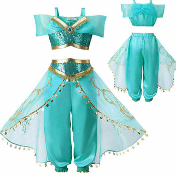 2020 Summer Kids Aladdin Costume Princess Jasmine Outfit Girls Sequin Party Fancy Dress Cosp 3-8Years