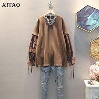 XITAO Stitching Long Sleeve T Shirt Women Plus Size Fashion Korean Style Leisure Tshirt Loose Trend Autumn Top Women XJ2253