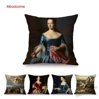 US Artist John Singleton Copley Famous Oil Painting Neoclassicism Female Portrait Pillow Cover Decoration Art Sofa Cushion Cover image