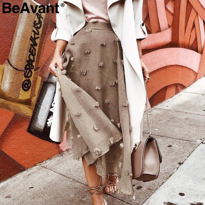 BeAvant A-line Chiffon Flower Embroidery Skirt Women Lining High Waist Ladies Bottom Skirt 2019 Autumn Winter Female Long Skirt
