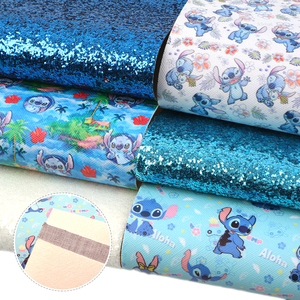 David accessories 20*34cm 6pcs/lot Cartoon Design Giltter Faux Synthetic eather Fabric Set for Bows DIY Handmade,1Yc10130(China)