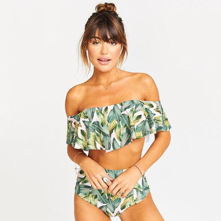 2019 AliExpress Amazon Hot Selling Bikini Swimwear Europe And America Leaf Printed Flounced Tube Top Two-piece Swimsuits