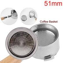 Acessórios do filtro da máquina de café de alta pressão copo duplo aço inoxidável única camada portaffiter 51mm 2 copos